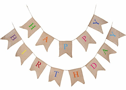 SL crafts A set Jute Hessian Burlap Happy Birthday Banner Rustic Birthday Party Bunting (Burlap Happy Birthday Banner)