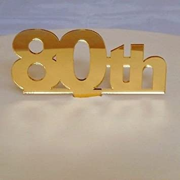 80th Birthday Cake Topper Gold Mirror Amazoncouk Kitchen Home