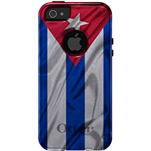 CUSTOM Black OtterBox Commuter Series Case for Apple iPhone 5 / 5S - Red White Blue Cuban Flag Cuba