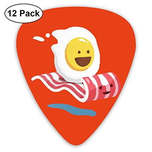 Qbeir 12-Pack Guitar Picks Plectrums 0.46mm / 0.71mm / 0.96mm Egg Bacon Celluloid for Bass ()