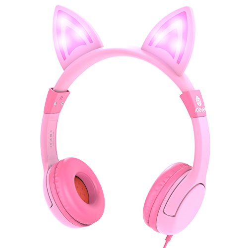 iClever Kids Headphones Over Ear, LED Backlight, Safe Wired Kids Headsets 85dB Volume Limited, Food Grade Silicone, 3.5mm Aux Jack, Cat-Inspired Headphones for Kids, Pink