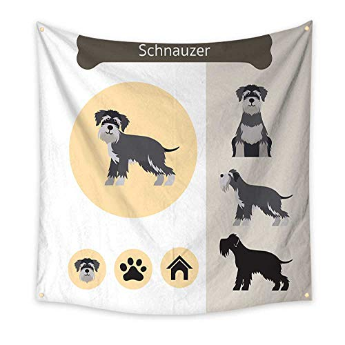 Anyangeight Gorgeous Tapestry Schnauzer Dog Breed Infographic 47W x 47L Inch