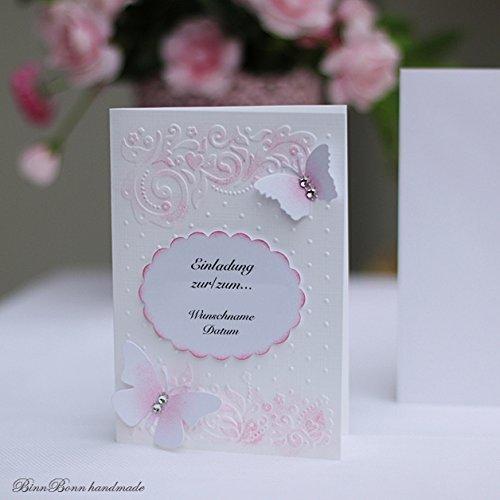 6 Einladungskarten Einladung Hochzeit Taufe Kommunion Weiss Handarbeit  Binnbonn