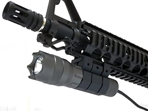 Monstrum Tactical 200 Lumens LED Flashlight with Remote Pressure Switch, Colored Lens Filters, and Rail Mount (Military - Ar 15 Tactical Flashlights