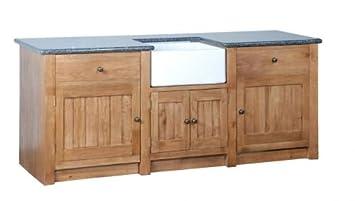 Solid Oak Freestanding Kitchen Unit: Amazon.co.uk: Kitchen ...