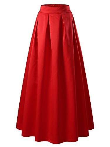 KIRA Red Maxi Skirt Elastic Formal High Waisted A-Line Full - Skirt Satin Flare