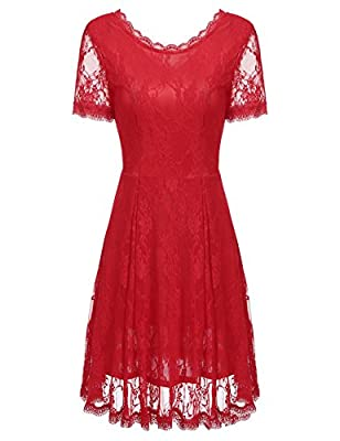 SE MIU Women Floral Lace Fit and Flare Short Sleeve Bridesmaid Party Short Dress