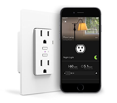 iDevices Wall Outlet - Wifi Smart Outlet w/ Energy Monitoring, No Hub Required, Independent Outlet Control, Works with Alexa