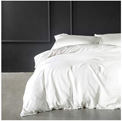 (Solid Color Egyptian Cotton Duvet Cover Luxury Bedding Set High Thread Count Long Staple Sateen Weave Silky Soft Breathable Pima Quality Bed Linen (King, White))