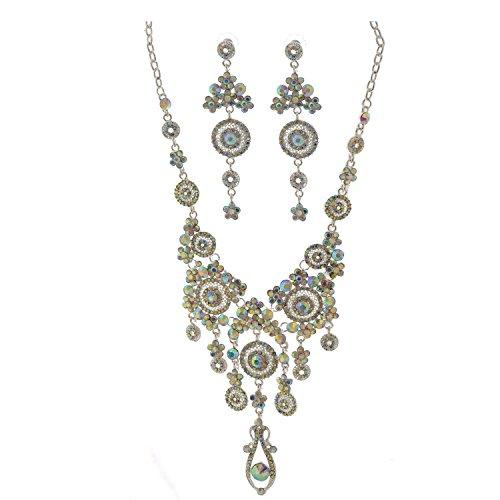 Topwholesalejewel Teardrop Silver Aurora Borealis Chandelier Necklace Earrings Set ()