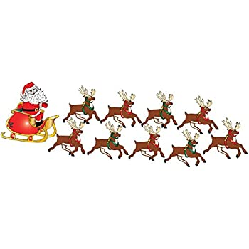santa claus wall decals in his sleigh with 8 reindeer decals and rudolph wall stickers - Santa With Reindeer Pictures