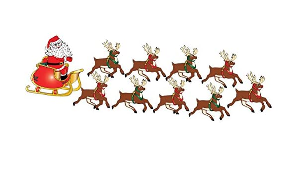 Amazon Com Christmas Santa Claus Wall Decals In His Sleigh With 8 Reindeer Decals And Rudolph Wall Stickers Home Kitchen