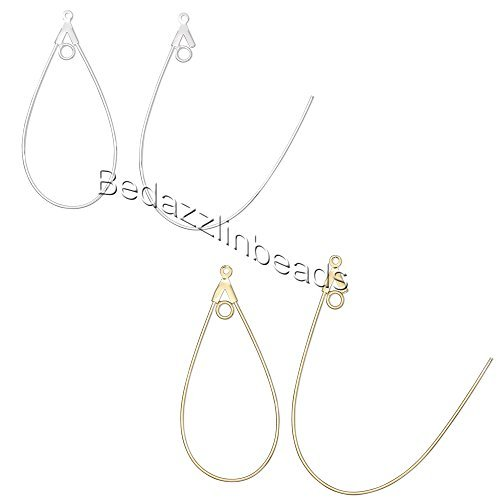 20 Teardrop Shaped Beading Hoop Earring Finding Components w/ Loop Plated Brass Metal (Silver Plated)