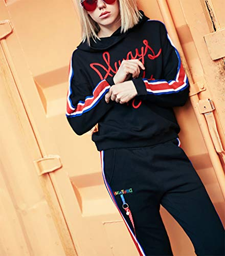 Anbech Womens Long Sleeve Embroidery Pullover Hoodie Always Right Letter Print Stripe Sweatshirt Tops Black