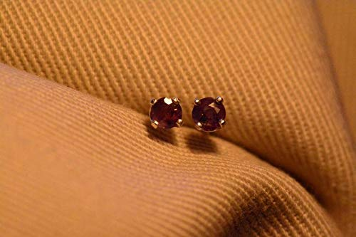 Certified 0.24 Carat Alexandrite Earrings, Color Change Studs Genuine Natural Real June Birthstone Round Cut Sterling Silver Jewelry AE29 ()