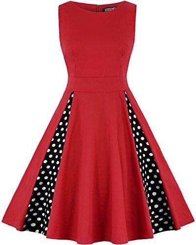 OTEN Women's Polka Dot Retro Sleeveless Cocktail Vintage Dresses 1950s (Large, Red) (Cinch Dot Polka)