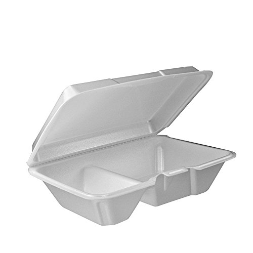 Dart 205HT2, 9x6x3-Inch Performer White Two Compartment Foam Container with a Removable Hinged Lid, Carryout Food Disposable Containers (50) ()