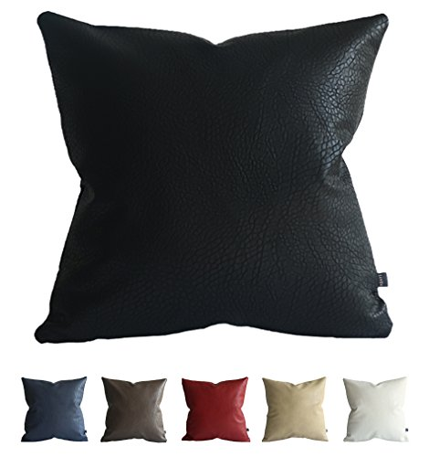 Kdays Faux Leather Elephant Black Pillow Cover Throw Pillow Cover Solid Pillow Cover Solid Cushion Cover 20x20 Inches Solid Faux Leather