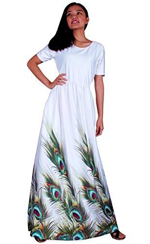 Maxi Dress Short Sleeves Peacock Summer Sundress Long Women Party Night Long (Large, White Peacock)