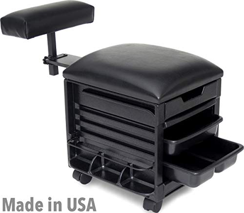 (2316-Prime Pedicure Unit Stool Seat w/Adjustable Footrest for Nail Salon & SPA Made in USA by Dina Meri)