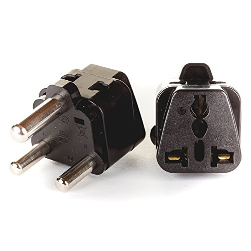 Price comparison product image OREI 2 in 1 USA to South Africa Adapter Plug (Type M) - 2 Pack, Black