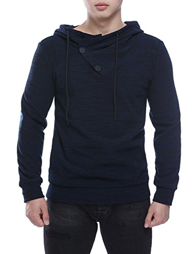 Sweater Blue Hooded (HEQU Men's Patchwork Elbow Knitted Pullover Hoodie Hooded Sweatshirt Navy Blue XL)