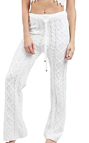 (POL Clothing Women's Ultra Soft and Fuzzy Cable Knit Pajama Lounge Pants (Small, White))