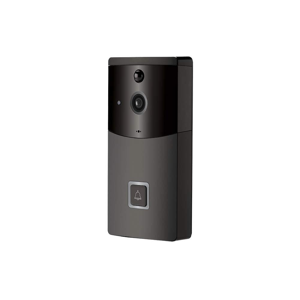 YMXLJJ Drahtlose Türklingel 1080P HD WiFi Und PIR-Nachtsicht Intelligente Elektronische Video-Türklingel Zwei-Wege-Anruf 166 ° Weitwinkel Und App-Steuerung Für IOS Und Android (Schwarz)