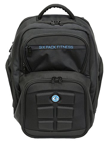 6 Pack Fitness Expedition Backpack W/ Removable Meal Management System 300 Black/Neon Blue w/ Bonus ZogoSportz Cyclone Shaker