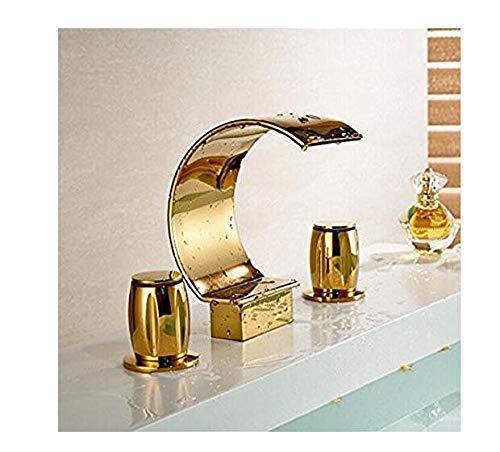 Chrome Kitchen Sink Tapcristal Handles golden Basin Faucet Deck Mount Waterfall Bathroom Mixer Taps 3 Holes