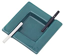Best Ashtray Under $10 - Square Ashtray Ceramic Ash Tray with 2 Cigarette Holder Slots for Home, Office, Bar Outdoors & Indoors - Perfect Gift for Smokers and Great for Personal Use