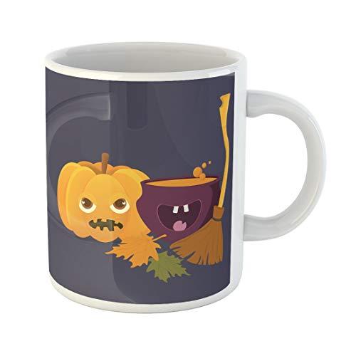 Tarolo 11 Oz Mug Coffee Mug Ceramic Tea Cup Cartoon Witch Cauldron Magic Boiling Soup Potion and Halloween Pumpkin Squash Jack O Lantern Broom Besom Space Large C-handle Family and Office Gift]()