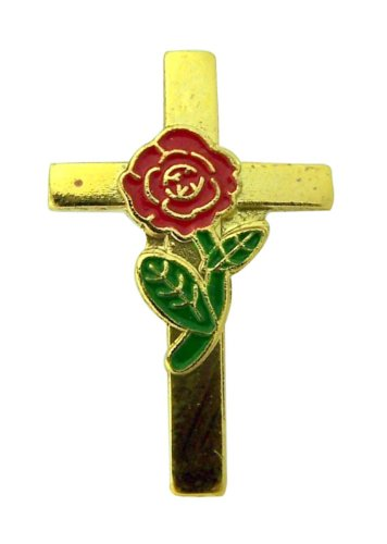 Gold Plate Latin Cross with Red Rose Overlay 3/4 Inch Carded Lapel Pin for Women ()