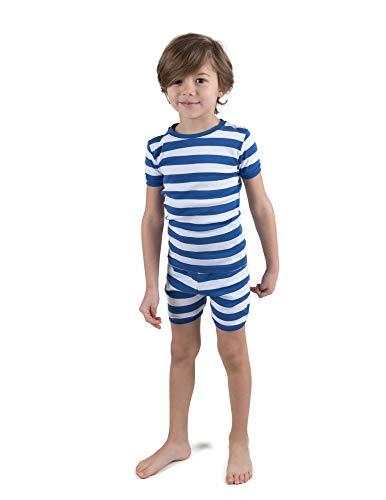 Leveret Shorts Pajamas Boys 2 Piece Pajamas Set 100% Cotton (Blue/White,Size 2 Toddler)