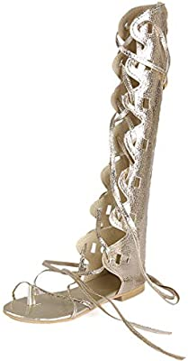 Kattee Women's Comfy Lace Up Flat Knee High Gladiator