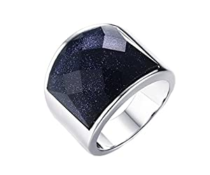 HIJONES Men's Stainless Steel 19mm Blue Sky Diamond Cut Gemstone Ring
