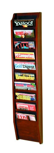 Wooden Mallet 10-Pocket Cascade Magazine Rack, Mahogany Mahogany Wall Magazine Holder