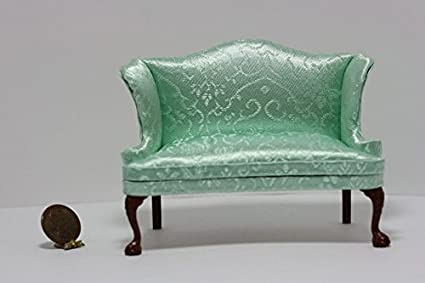 Dollhouse Miniature Queen Anne Wing Chair /& Stool in Green