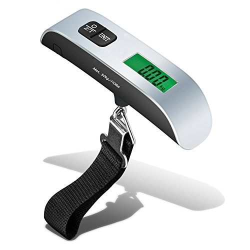 HoJax Backlight Digital handheld Luggage Scale, Rubber Paint, Temperature Sensor, 110LBS / 50 Kgs Sliver