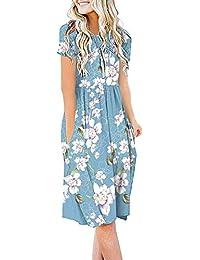 N/B Women Summer Casual Dress Short Sleeve T Shirt Dresses Empire Waist with Pockets