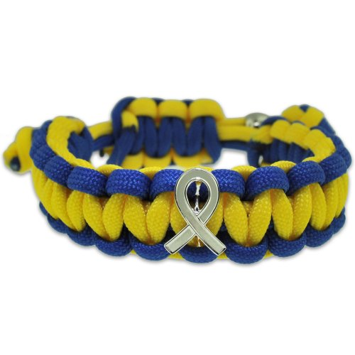 Down Syndrome Blue and Yellow w/ Awareness Ribbon Paracord Adjustable Bracelet