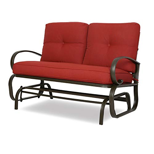 Patio Glider Bench Loveseat Outdoor Cushioed 2 Person Rocking Seating Patio Swing Chair, Brick Red