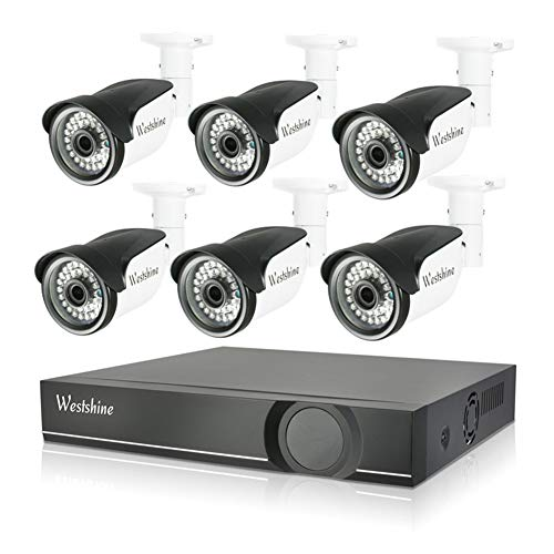 Westshine 8CH POE NVR Kit Home Security Camera System,8CH 2MP NVR with 6PCS 1080P Outdoor/Indoor Bullet IP Cameras 120ft Long Night Vision,Remote Access,Motion Detection(No Hard Drive)