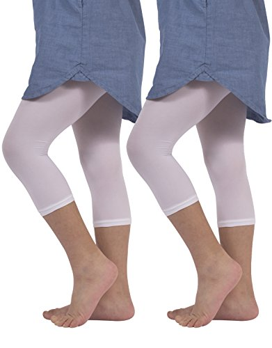 (2 Pairs Girls Cropped Leggings | Capri Footless Pants | 40 DEN | White, Black | Italian Hosiery | (12/14 Years, White))