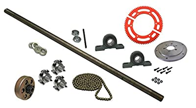 "BMI Karts Drift Trike Axle Kit with Clutch (#35 Chain), 36"" Axle, and Pillow Blocks with 1"" Bearings by BMI Karts"