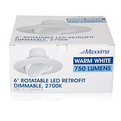 11 Watt 6''-Inch Rotatable 750 Lumens Maxxima LED Retrofit Downlight Gimbal Warm White 2700k Dimmable, Straight E26 Connection Cable, Energy Star by Maxxima (Image #7)