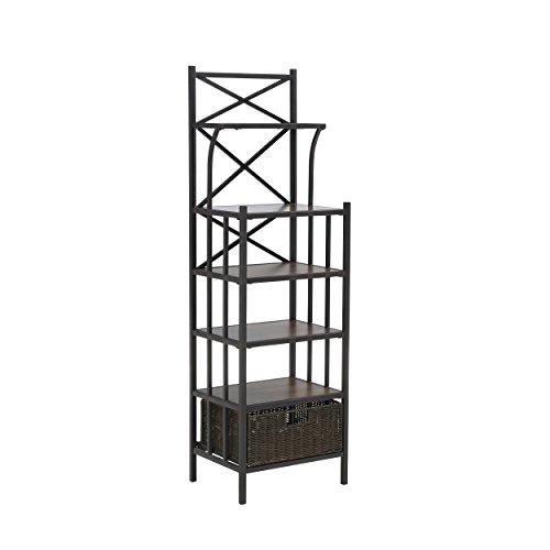 Furniture HotSpot – Bakers Rack w/ Storage - Rustic Brown w/ Dark Distressed Pine - 16.5'' W x 12.5'' D x 53.25'' H by Furniture Hotspot
