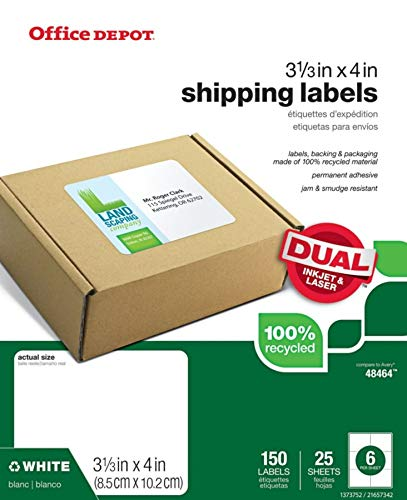 Office Depot Brand 100% Recycled Mailing Labels, OD98834, 3 3/8