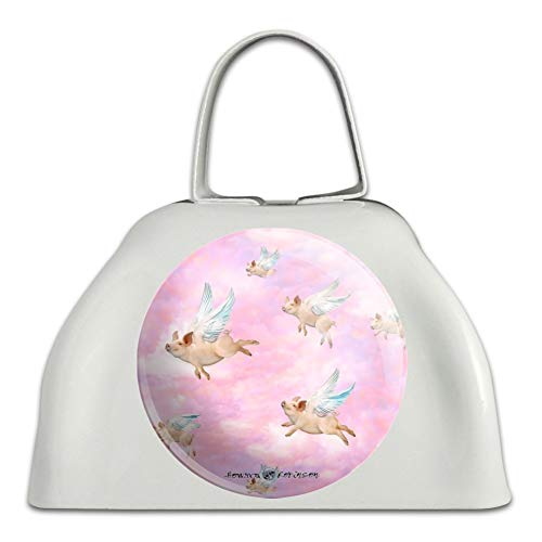 If Pigs Could Fly Pink Clouds Wings White Metal Cowbell Cow Bell Instrument ()