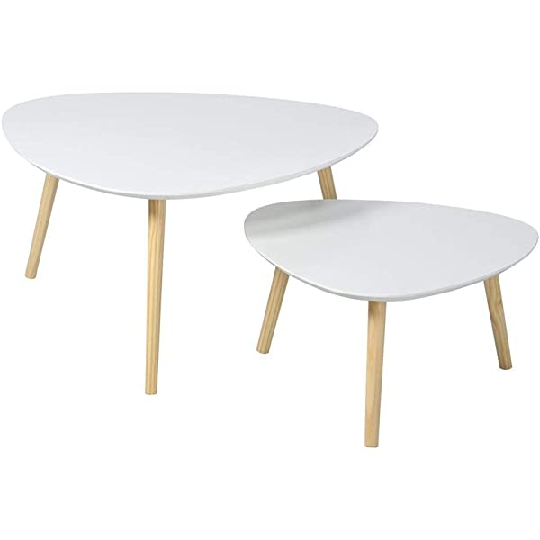 GBY /® Nesting Tables: Set of Two Grey smallest table: 45 x 40 x 30cm White - largest table: 60 x 45 x 40cm